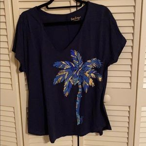 Lilly Pulitzer Navy t with palm tree size L